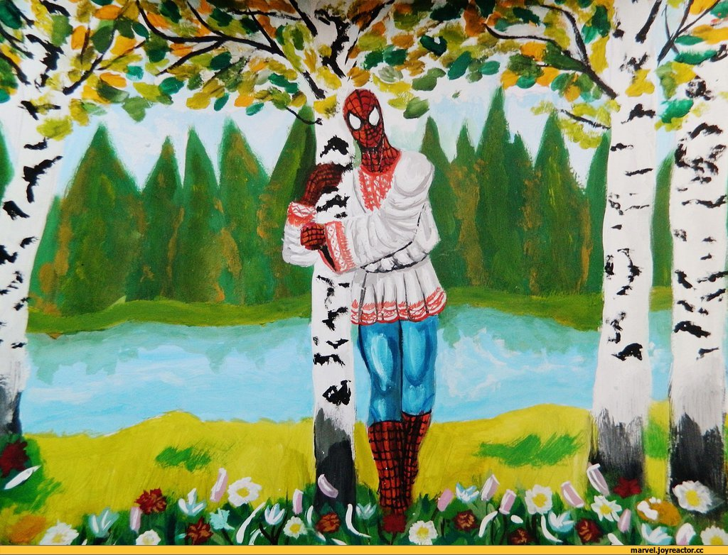Человек-паук в берёзках