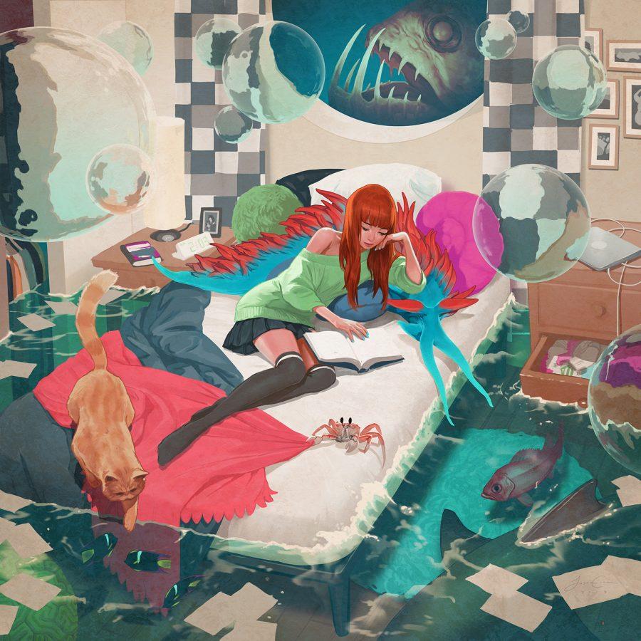 Аквариум: девушка и кот