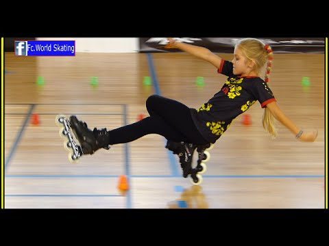 Fantastic little girl! Rollerblade Freestyle Slalom World Championship Paris 2014 («dancing»)